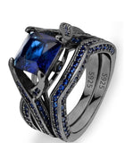 Black Sterling Silver Princess Cut CZ Solitaire Cocktail Ring Set Sapphire Color Wedding Gift Set - The Accessory Nook  - 1