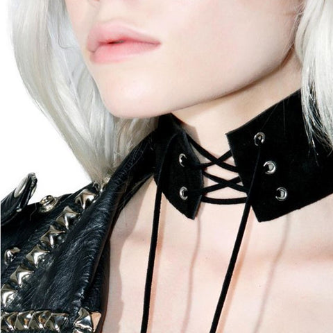 Anime Lace Up Choker Necklace  Gothic Vintage Wide Ribbon Leather Sexy Jewelery - The Accessory Nook  - 1