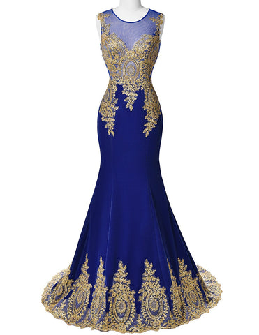 Blue Mermaid Luxury Prom Dress Gold Applique Floor Length Party Formal Gown - The Accessory Nook  - 1