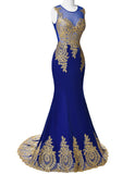 Blue Mermaid Luxury Prom Dress Gold Applique Floor Length Party Formal Gown - The Accessory Nook  - 2