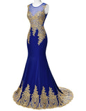 Blue Mermaid Luxury Prom Dress Gold Applique Floor Length Party Formal Gown - The Accessory Nook  - 3
