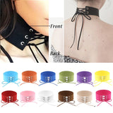 Anime Lace Up Choker Necklace  Gothic Vintage Wide Ribbon Leather Sexy Jewelery - The Accessory Nook  - 2