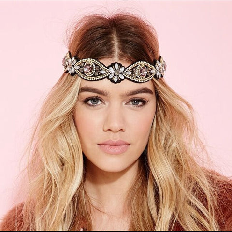 Rhinestone Bohemian Vintage metal seed beads Flower headband hair accessories - The Accessory Nook  - 1