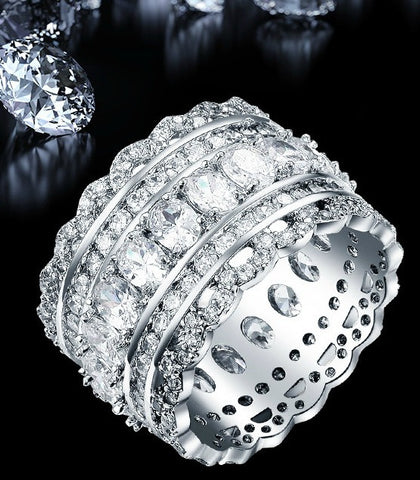 Luxury Wide Circle Cubic Zirconia Round CZ Diamond Ring Bling Gift Jewelry - The Accessory Nook