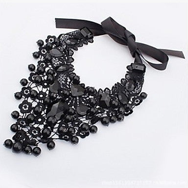Elegant Black Lace Statement Bib Necklace - The Accessory Nook  - 1