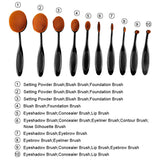 Black Professional 10 PC Makeup Soft Oval Foundation Contour Cream Brush Set - The Accessory Nook  - 2