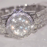 Luxury Silver Women Rhinestone Ceramic Crystal Bling Ladies Quartz Wristwatch - The Accessory Nook  - 3