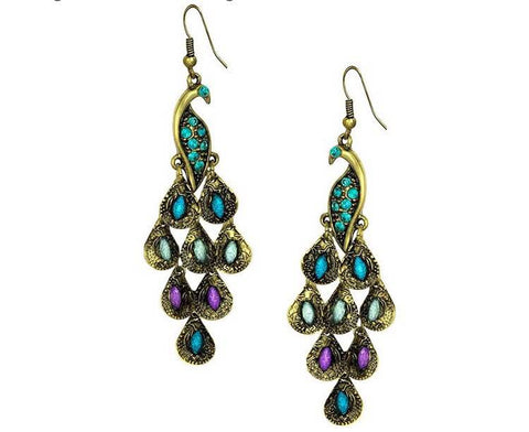 Gold Tone Vintage Peacock Blue Epoxy Crystal Feather Dangle Statement Earrings - The Accessory Nook