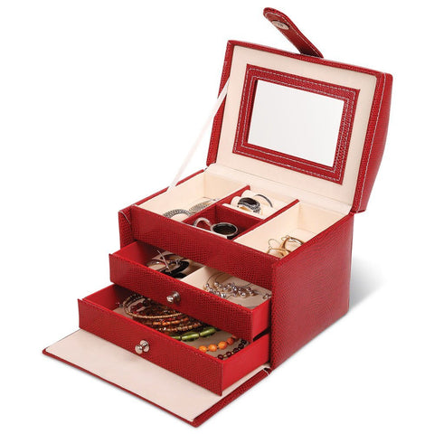 "Red Vinyl Jewelry Accessory Chess Box 6"" Organizer with Mirror - The Accessory Nook  - 1"