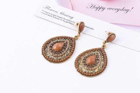 Brown Bead Bohemian Stud Fashion Crystal Trendy Earrings - The Accessory Nook