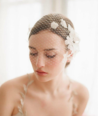 Vintage Style Ivory Short Face Bridal Fashion Headpiece Wedding Veil - The Accessory Nook  - 1