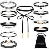 10 PCS Black Velvet Choker Trendy Necklace Set  with Drawstring Strorage Bag - The Accessory Nook  - 1