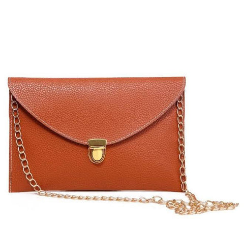 Fashion Leather Envelope Clutch Pocketbook with optional Drop-in Chain Shoulder Strap - The Accessory Nook  - 1