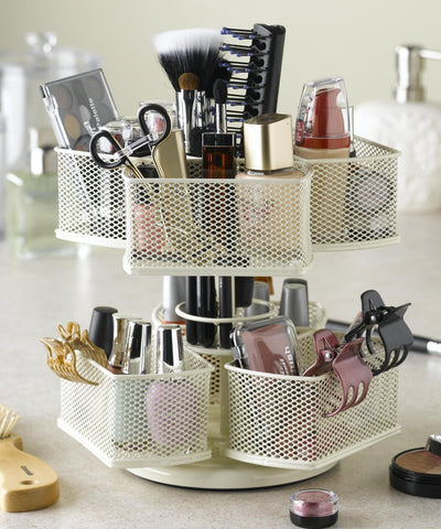 Makeup Brush & Cosmetic Carousel Rotating Organizer in Cream - The Accessory Nook