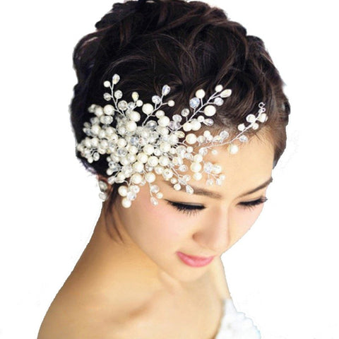 Pearl and Crystal Bridal Wedding Hair Accessory Haircomb Headpiece - The Accessory Nook  - 1