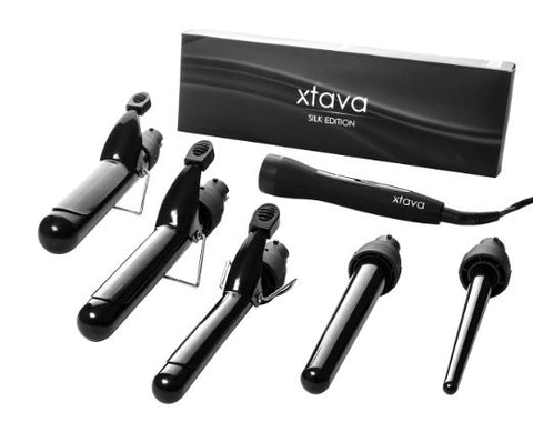 Professional 5-in-1 Curling Iron Hair Curler, Curlz  Ceramic Tourmaline 360 Degree Five Barrels - The Accessory Nook  - 1