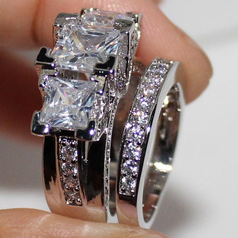 Sterling Silver Square Simulated Diamond CZ Stone Statement Wedding Band Set - The Accessory Nook  - 1