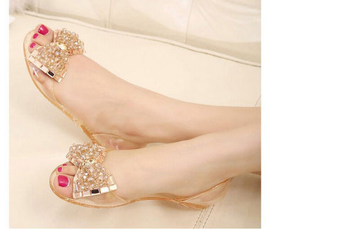 Jelly Sandal Flat Transparent Peep Toe Crystal Women Summer Trendy Shoe - The Accessory Nook  - 1