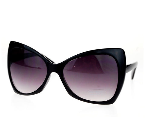 Oversized Cat Eye Hybrid Butterfly Sunglasses Black Plastic Lens & Frame - The Accessory Nook