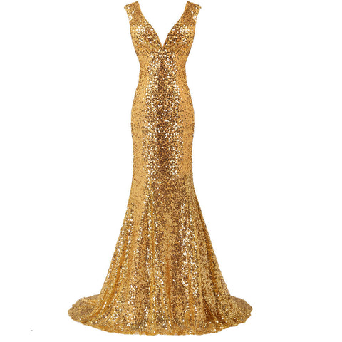 Luxury Long Gold Evening Sequin Mermaid Bridesmaid Prom Formal Dress Gown with Back Corset - The Accessory Nook  - 1