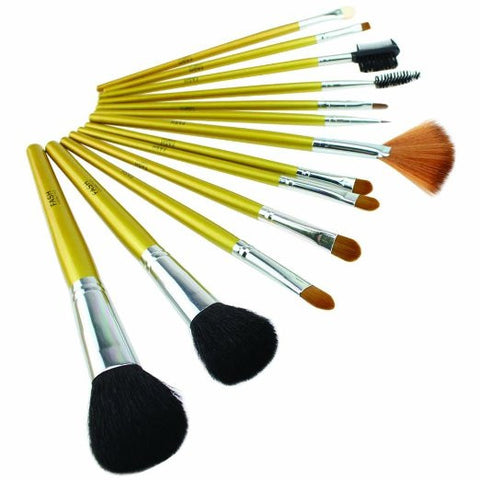 Cosmetics Professional 13 Pcs Natural Goat Hair and Nylon Cosmetic Brush Set with Printed Pouch - The Accessory Nook