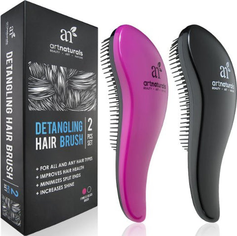 Art Naturals Detangling Hair Brush Set (Pink & Black) - glide the Detangler through Tangled hair Best Brush Comb for Women - The Accessory Nook  - 1