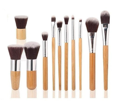 11 PC Makeup Cosmetic Brush Professional Bamboo Synthetic Kabuki Contour Blending Kit - The Accessory Nook  - 1