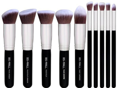 10 pc Kabuki Makeup Brush Set Cosmetic Foundation Blending Blush Eyeliner Face Powder Contouring - The Accessory Nook  - 1