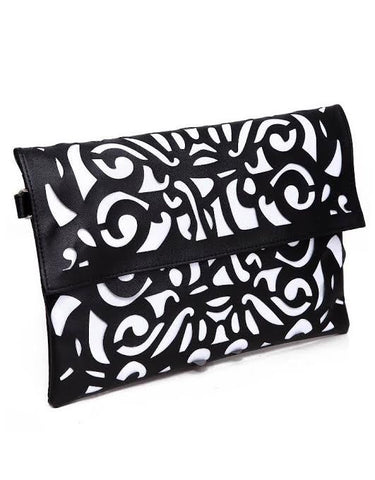 Laser Cut Out Clutch Pocketbook Messenger Handbag with Strap - The Accessory Nook  - 1