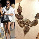 Women Jewelry Leaves Leaf Multilayer Pendant Chain Bib Choker Necklace - The Accessory Nook  - 1