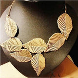 Women Jewelry Leaves Leaf Multilayer Pendant Chain Bib Choker Necklace - The Accessory Nook  - 3