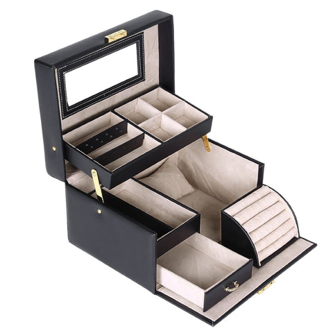Black Leather Jewelry Box Lockable Makeup Storage Accessory Case with Mirror - The Accessory Nook  - 1