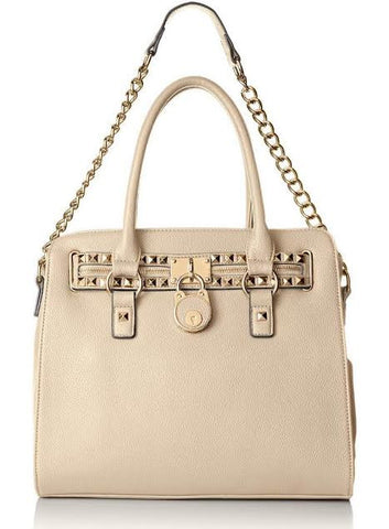 Studded Structured Satchel Trending Shoulder Tote Fashion Hand Bag Purse - Beige - The Accessory Nook  - 1