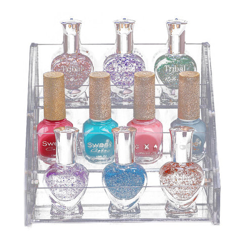3 Tier Acrylic Nail Polish Cosmetic Orgainizer Display Stand Makeup Container Removable - The Accessory Nook  - 1