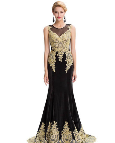 Black Mermaid Luxury Prom Dress Gold Applique Floor Length Party Formal Bridesmaid Gown - The Accessory Nook  - 1