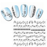 Nail Art Professional Nail Decals Accessory Easy to Use Fashion Music Notes Design Detail - The Accessory Nook  - 2