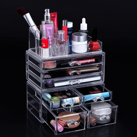 Cosmetic Beauty Makeup Organizer Jewelry Chest Bathroom Storage Case 3 Piece Set - The Accessory Nook  - 1