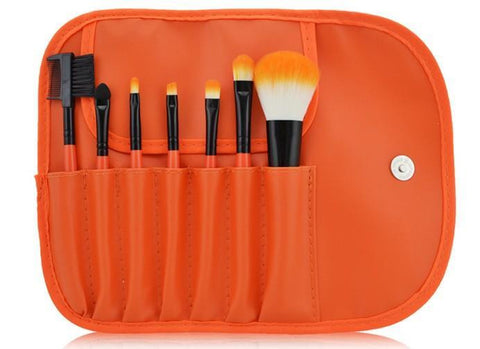 Orange Makeup Cosmetic Contouring Blending Professional 7 PCBrush Set - The Accessory Nook