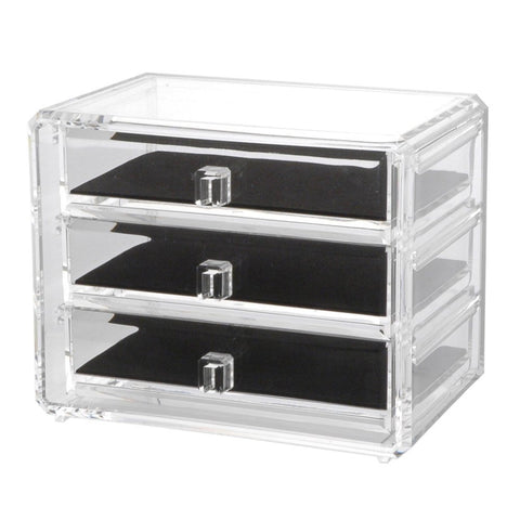 Deluxe 3-drawer Jewelry Makeup Cosmetic Chest with Removable Drawers and Liners - The Accessory Nook  - 1