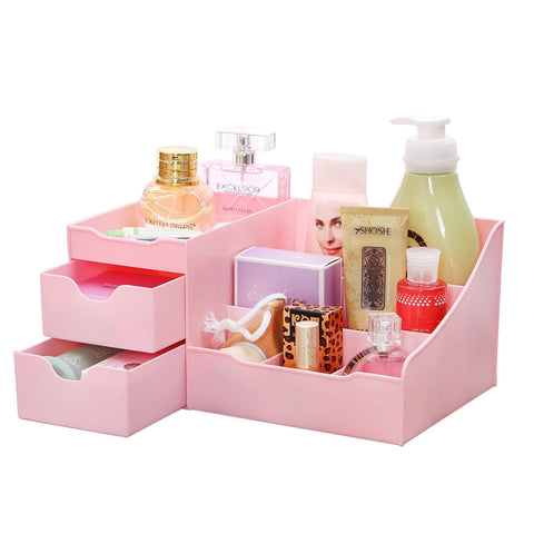 Pink Makeup Cosmetic Accessory Jewelry Organizer with Drawers Clutter Free - The Accessory Nook  - 1