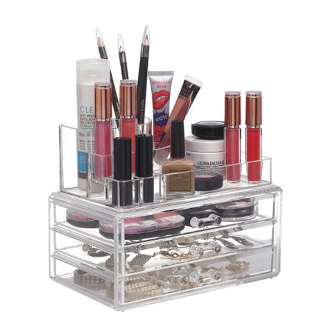 Acrylic Clear Cosmetic Makeup Cosmetic Beauty Jewelry Storage Organizer with 3 Drawers Perfect Gift! - The Accessory Nook  - 1