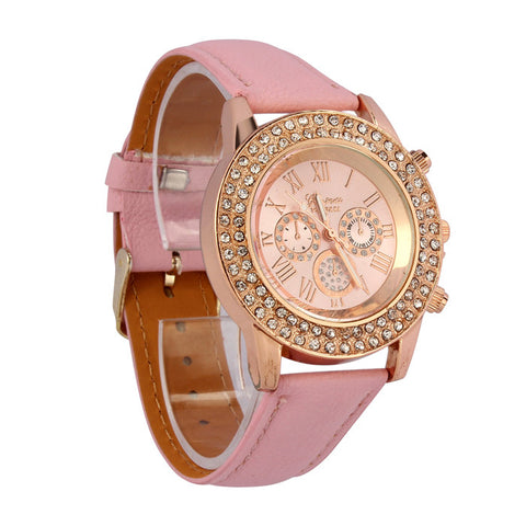 Big Dial Quartz Watches Round Analog Women Rhinestone Round Wrist Watch - The Accessory Nook  - 1