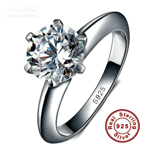 100% Real Solid 925 Sterling Silver Ring Set 1.5 Carat CZ Diamond Silver Wedding Engagement