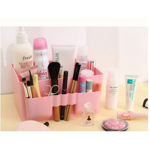 Pink Plastic Beauty Cosmetic Makeup Storage Display Counter Orgainizer Box - The Accessory Nook  - 1