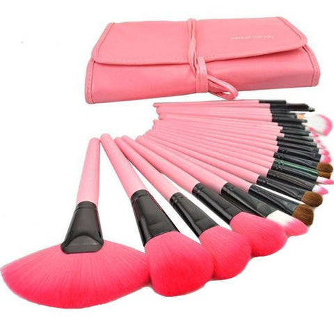 24 pcs Professional Pink Cosmetic Makeup Brush Contour Foundation Hightlight Tool Set with Case - The Accessory Nook  - 1