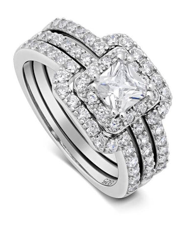 Princess Cut Center Stone CZ Sterling Silver Band Engagement Ring Flawless Love - The Accessory Nook  - 1