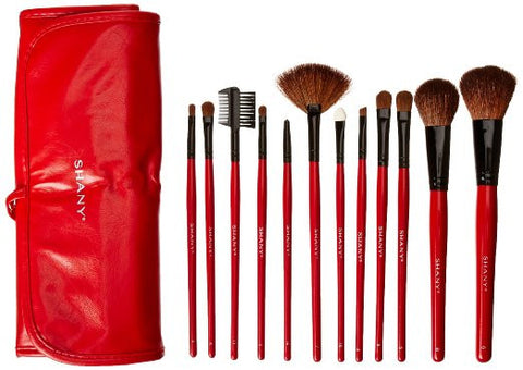 12 pc Natural Goat and Badger Cosmetic Makeup Brush Set Red Pouch Contour - The Accessory Nook  - 1