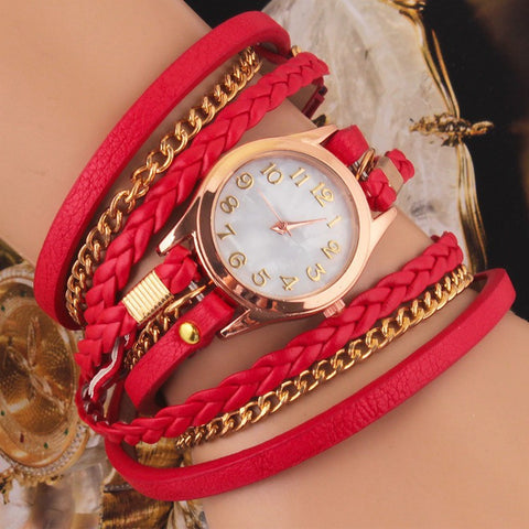 Red Multilayer Faux Leather Strap Band Women Bracelet Quartz Wrist Watch - The Accessory Nook