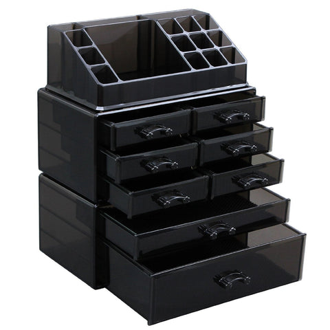 Black Makeup Beauty Organizer Cosmetic Storage Display Boxes Jewelry Chest 3 Pieces Set - The Accessory Nook  - 1