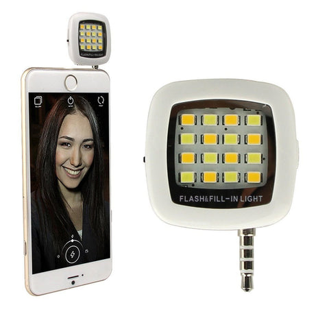 Universal Portable Mini 16 LED Night Selfie Dimmable Flash Cellphone Camera Flash - The Accessory Nook  - 1